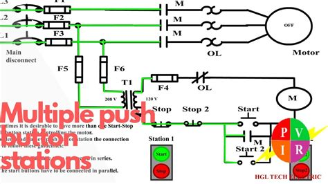 multiple push button stations  wire control multiple