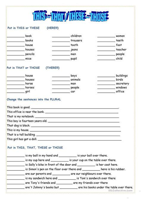 This, That, These, Those Worksheet  Free Esl Printable