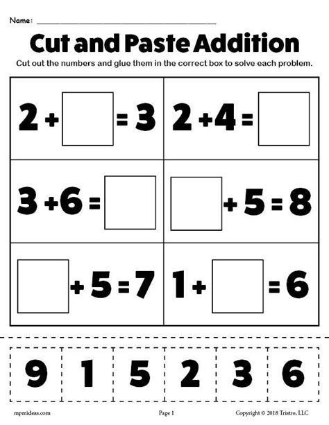 free printable cut and paste addition worksheet supplyme