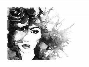 Woman Face.Abstract Watercolor .Fashion Background Art by ...