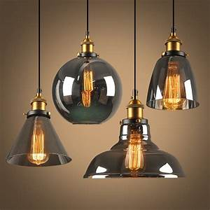 Globe Luminaire Piece Detachee : new style smoky grey e27 pendant lights glass lamp ~ Dailycaller-alerts.com Idées de Décoration