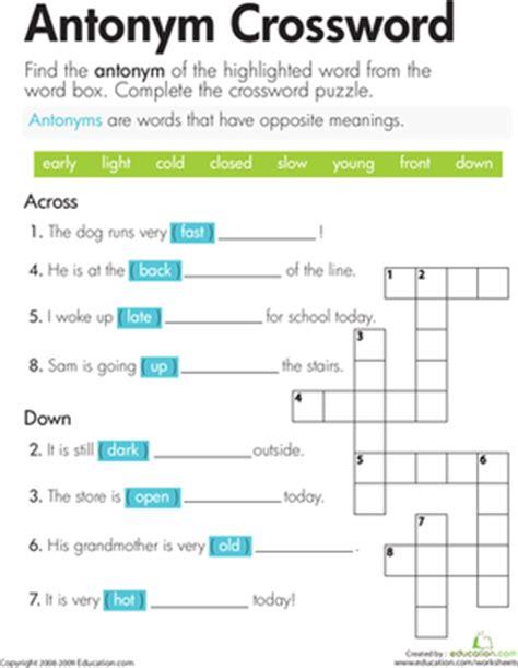Antonym Crossword  Worksheet Educationcom