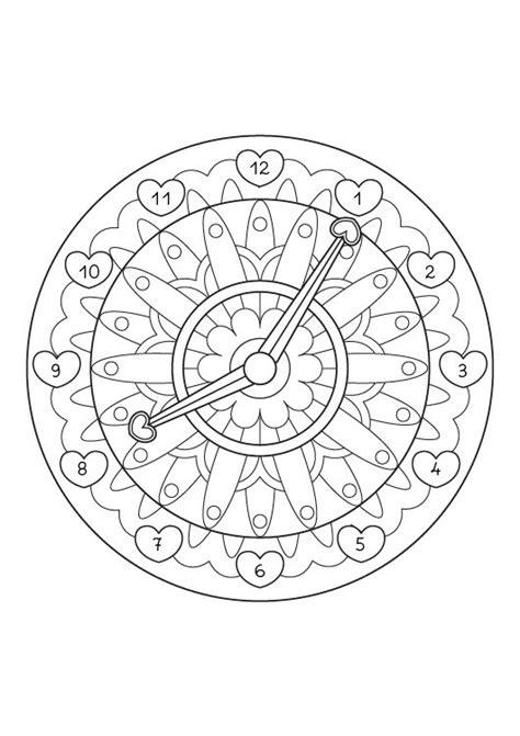 imprimir mandala reloj dibujo para colorear e imprimir