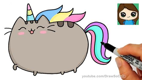 draw pusheen unicorn easy  jokes