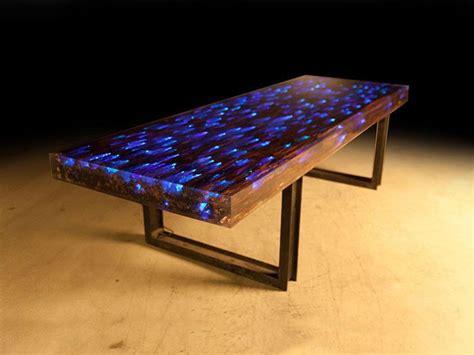 led table l 10 ft l dining table desk driftwood resin embedded led