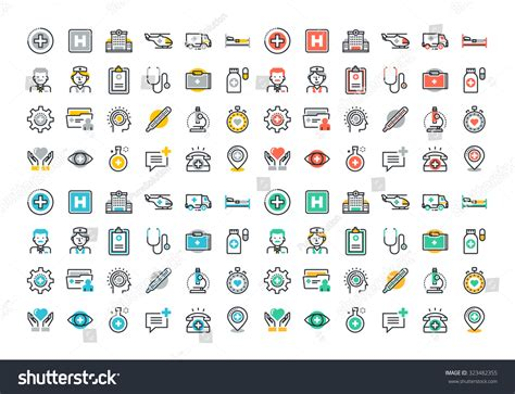 Flat Line Colorful Icons Set Healthcare Stock Vector
