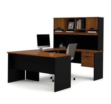 bestar innova u desk with hutch in white and antigua black u shaped desk with hutch bestar furniture