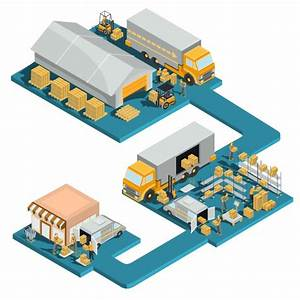 Distribution goods from a warehouse to a store Vector ...