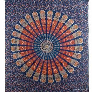 Blue indian floral mandala dorm room decor hippie tapestry