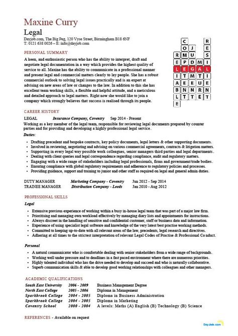 legal cv templates  write  effective resume  show   law  probate skills