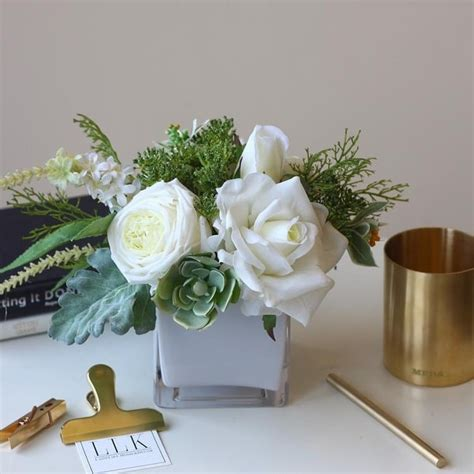Shop Mademoiselle White Rose Greenery Floral Centerpiece