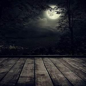 Generic Halloween Dark Forest Moon Night Theme Silk