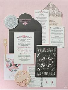 laser cut lace invitation set by ceci new york package With laser cut wedding invitations new york