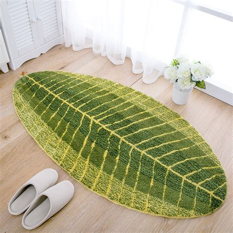 green kitchen mat leaf shape green microfiber carpet absorbent anti slip 1417