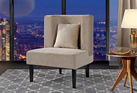 accent chair  living room upholstered armless velvet chairs   cushion  natural