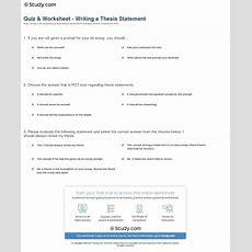 Quiz & Worksheet  Writing A Thesis Statement Studycom