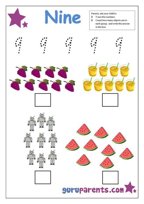 kindergarten math worksheets guruparents 195   preschool number 9 worksheet