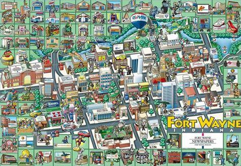 fort wayne maps map indiana lutheran parks cartoon glenbrook square