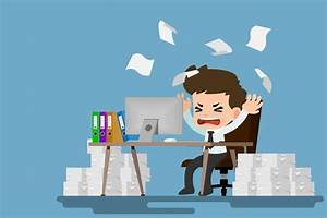 Businessman Stress At The Desk By A Lot Of Work. Employee ...