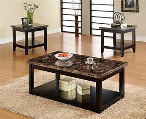 3pc lawndale faux marble top solid wood black finish With real wood coffee table sets