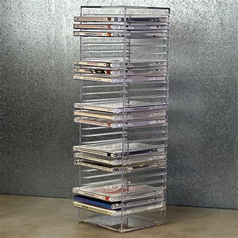 clear plastic cd tower holds  standard cd jewel cases