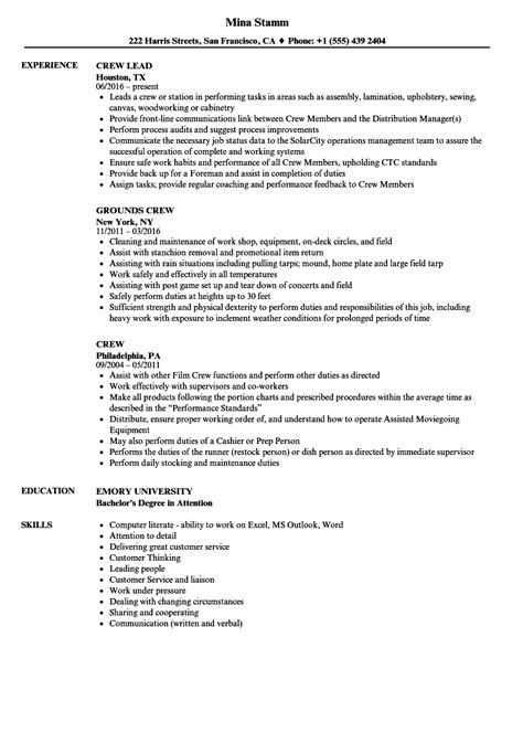 Crew Resume by Resume Sle Of Service Crew Resume Exles Resume