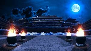 Traditional Chinese temple a night - VJ Loop Download