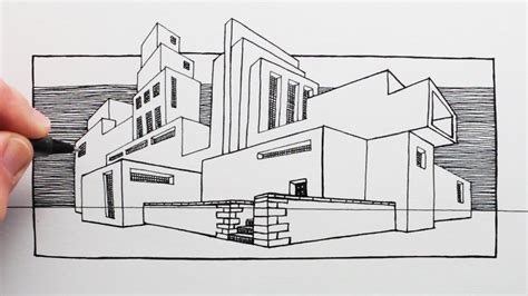 draw  building  perspective mackintosh style