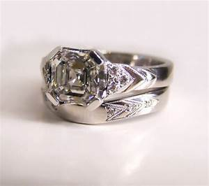 18ct ethical white gold and diamond art deco wedding ring for Ethical wedding rings