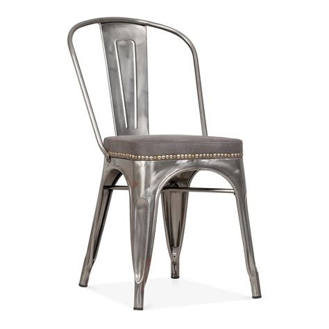 chaise cuir vintage tolix gunmetal side chair with cushion seat cult uk