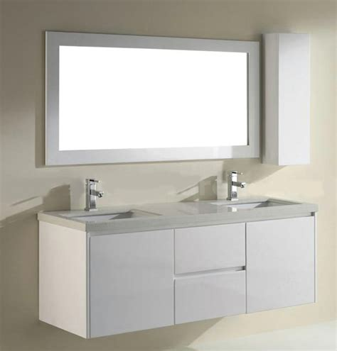 63 Inch High Gloss White Floating Bathroom Vanity With