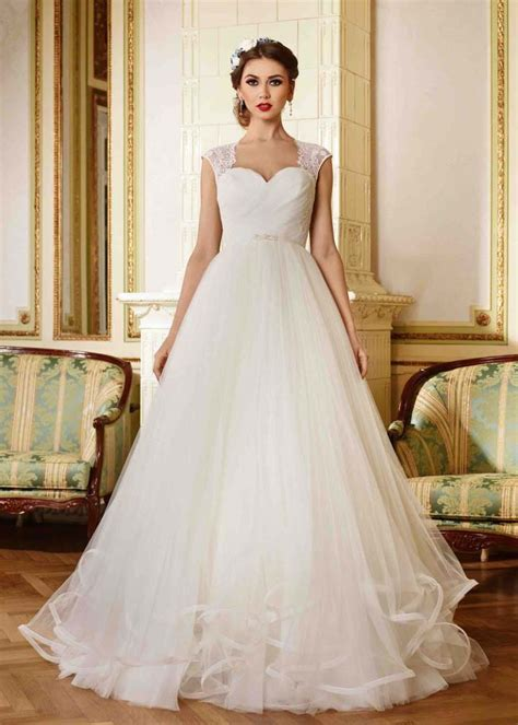 ivory lace tulle cap sleeves long wedding dress