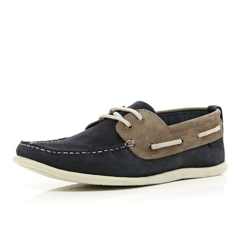 Boat Shoes Navy Blue by River Island Navy Two Tone Boat Shoes In Blue For