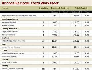 Kitchen Remodel Budget Worksheet