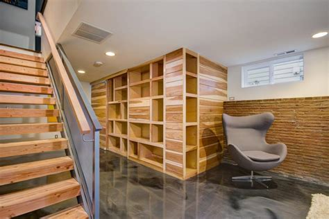 Transitional Basement Features Custom Wall Storage Unit