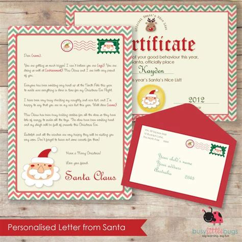 personalised letter  santa including official nice