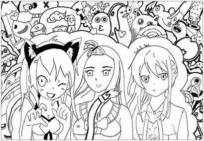 Manga Kawaii Coloring Characters Anime Pages Mangas