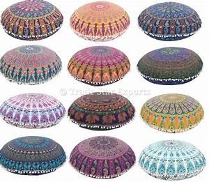 Grand Mandala Tapisserie Oreillers De Plancher Coton