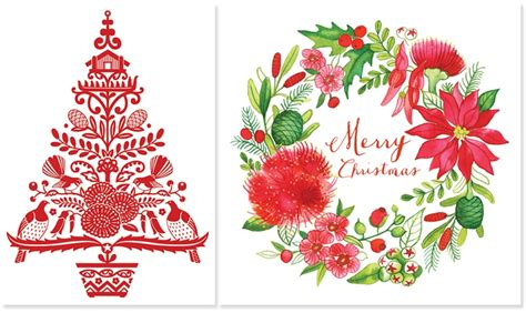 New Zealand Christmas Cards-christmas Lights Card And Decore