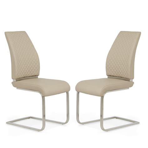 adene dining chair in taupe faux leather in a pair 31005