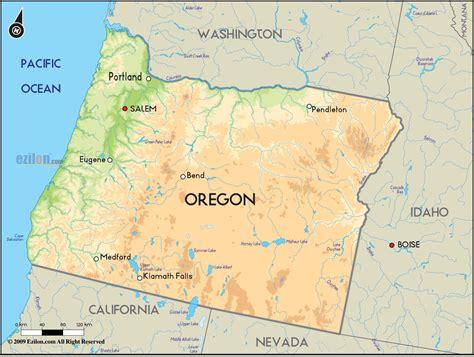 geographical map  oregon  oregon geographical maps