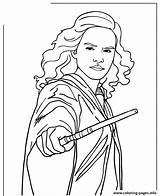 Hermione Potter Harry Coloring Granger Wand Printable Holding Ron Coloriage Hermine Zum Drawing Ausmalen Sheets Drawings Imprimer Characters Dessin Colorear sketch template