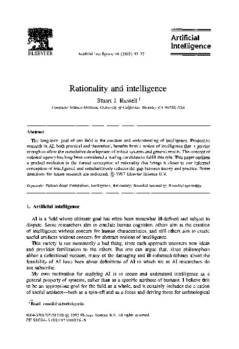 (PDF) Artificial Intelligence Rationality and intelligence