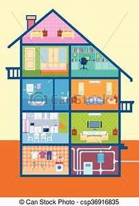 Dessin Intérieur Maison : vecteurs de d taill coupure maison int rieur meubles vue csp36916835 recherchez des ~ Preciouscoupons.com Idées de Décoration
