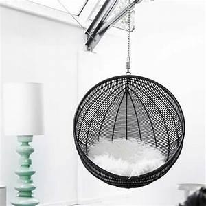 Fauteuil suspendu design cocoon noir pour ma deci de for Fauteuil suspendu design