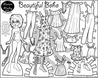 Paper Coloring Doll Printable Boho Pages Dolls