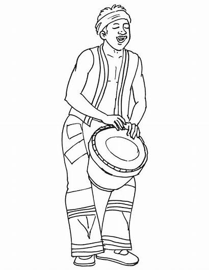 African Coloring Pages Culture Drum Playing Activities