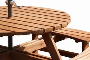Garden Patio 8 Seater Wooden Pub Bench Round Picnic Table