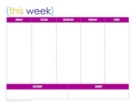 week   weekly planner printable biblical