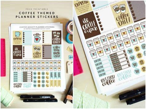 coffee themed printable planner stickers diy candy